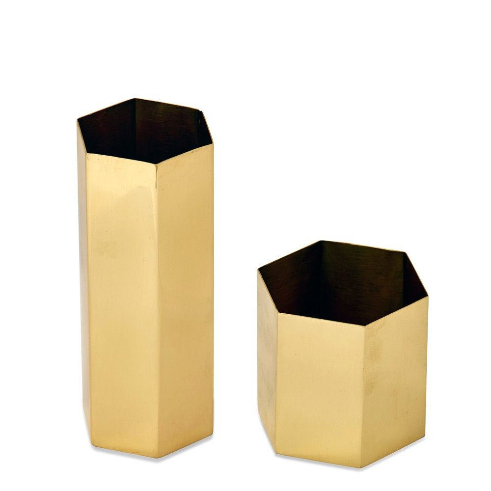 Brass Hexagon Vases (Set of 2)