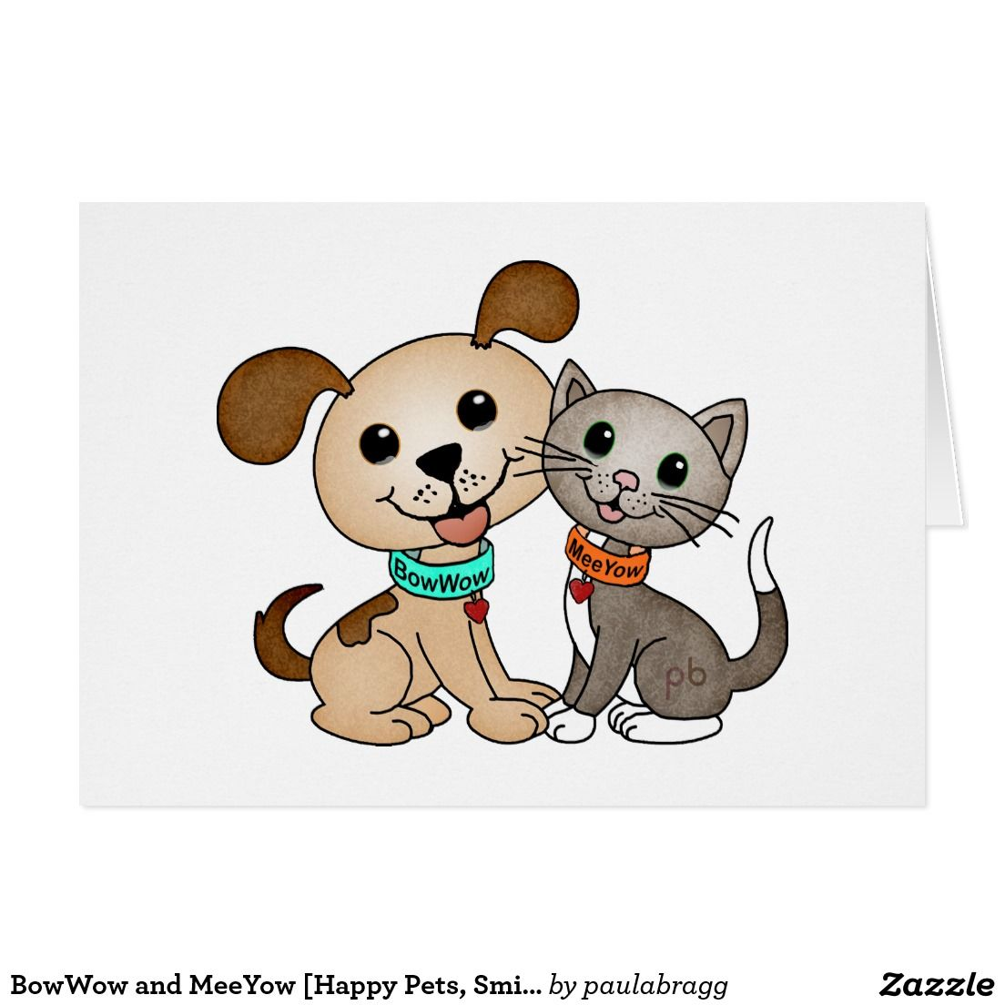 Bowwow And Meeyow Cute Animal Note Cards Adorable Cartoon Pets Brighten Someone S Day And Put A Smile On Som Cute Cartoon Animals Happy Animals Cartoon Gift