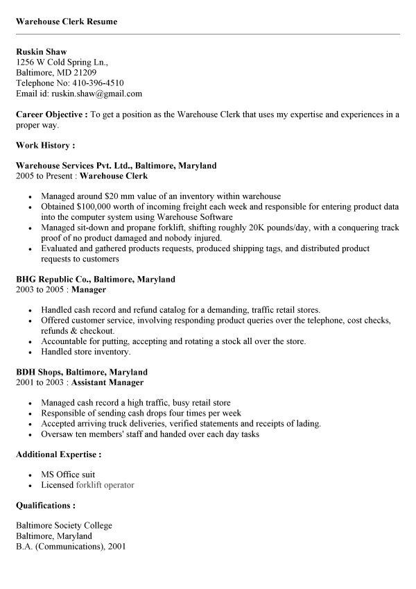 resume examples printable job application forms business loan - warehouse clerk resume