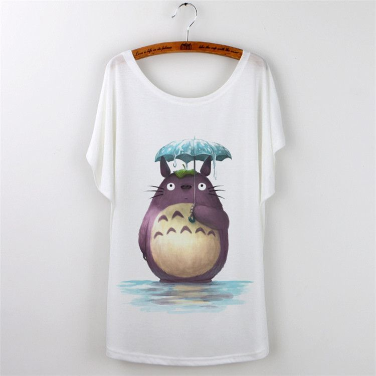 Harajuku Cute Tops Loose Tshirt Totoro Print T-Shirt Women T Shirt Casual Cartoon Short Sleeve Plus Size White Tees Top