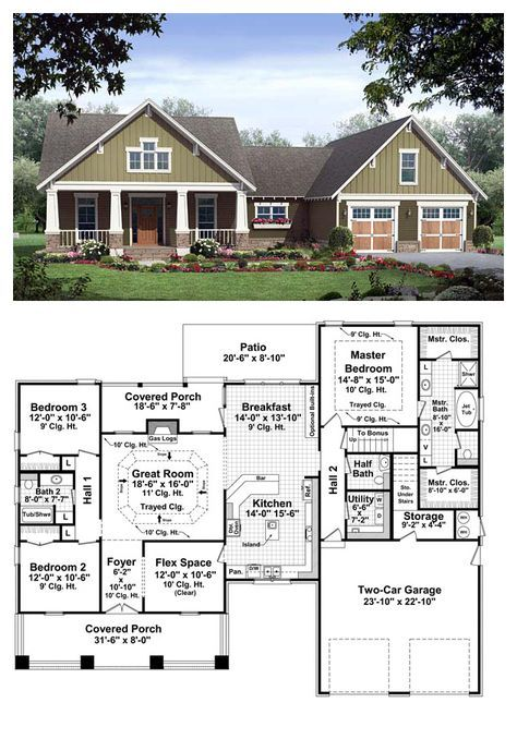 Bungalow Style Cool House Plan Id Chp 37255 Total Living Area 2067 Sq Ft 3 Bedrooms New House Plans Craftsman House Plans Craftsman Style House Plans