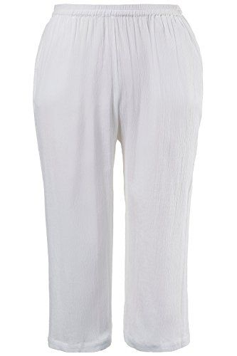 4ae36facad4 Ulla Popken Womens Plus Size Tropiccool Cropped Gauze Pants White 1214  702341 20   Learn more by visiting the image link.