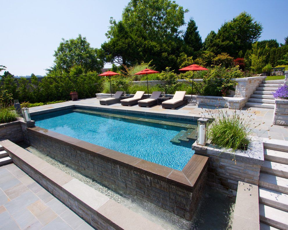 landscaping pool slope pool traditional with stone pool ...
