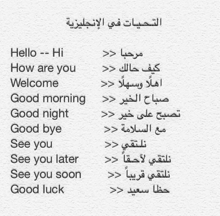 التحيات في الانجليزيه Learning Arabic Good Morning Good Night Learn English