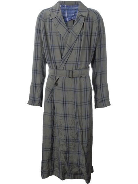 HAIDER ACKERMANN Check Print Belted Long Coat. #haiderackermann #cloth #coat