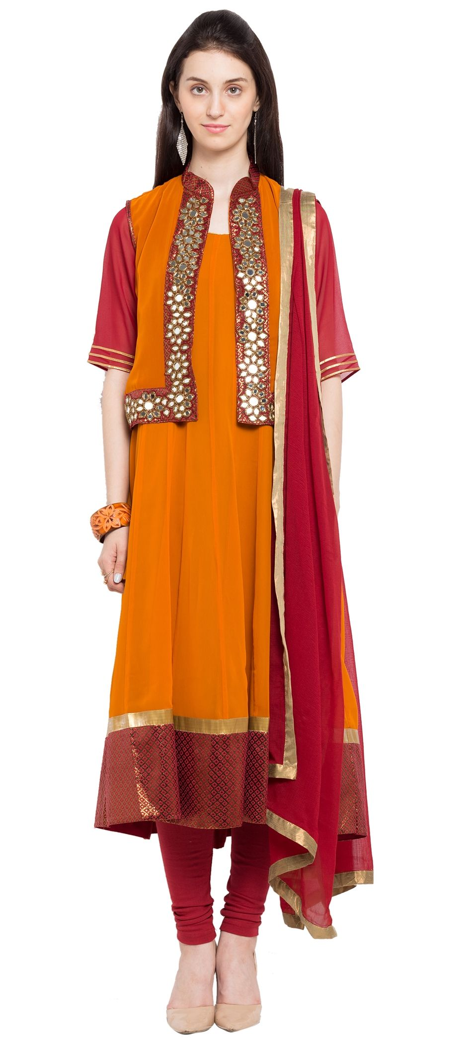 903515 Orange color family Anarkali Suits in Faux Georgette fabric ...