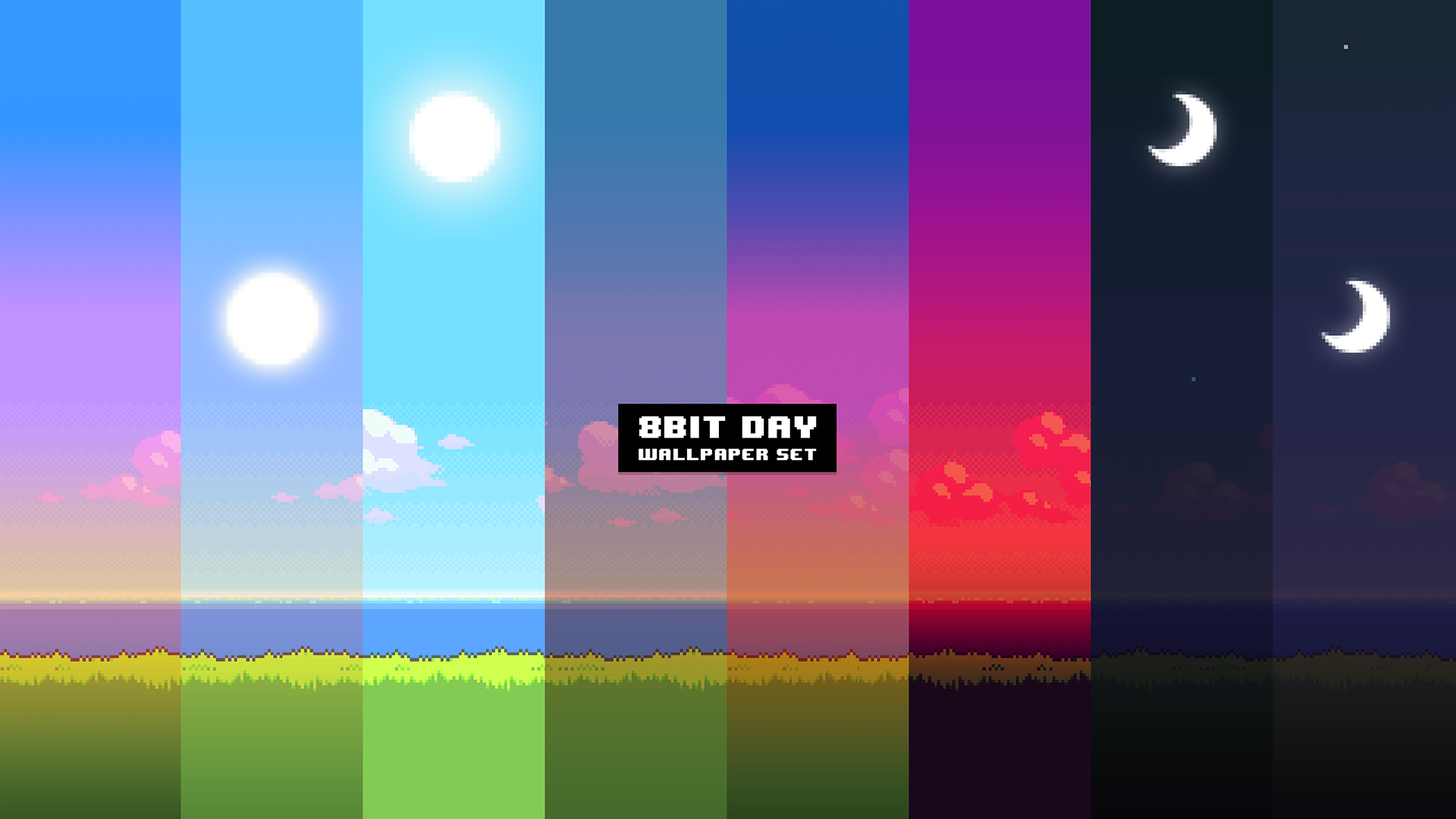 UPDATE New version of the '8Bit Day' Wallpaper Set. Pixel