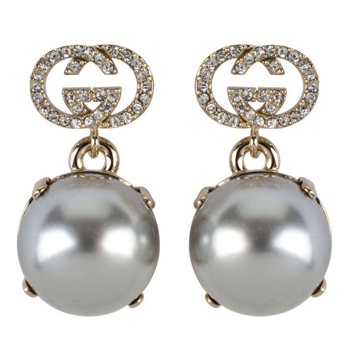 8456de8d3 GUCCI Interlocking Gg Earrings Pearl Drop Earrings, Vivienne Westwood,  Designer Shoes, Designer Handbags