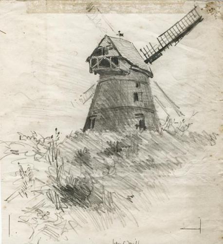 WINDMILL SKETCH Pencil Drawing GIDEON FIDLER c1890