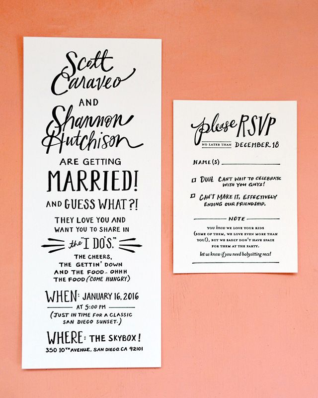 Beautiful Hand Lettered San Diego Wedding Invitations