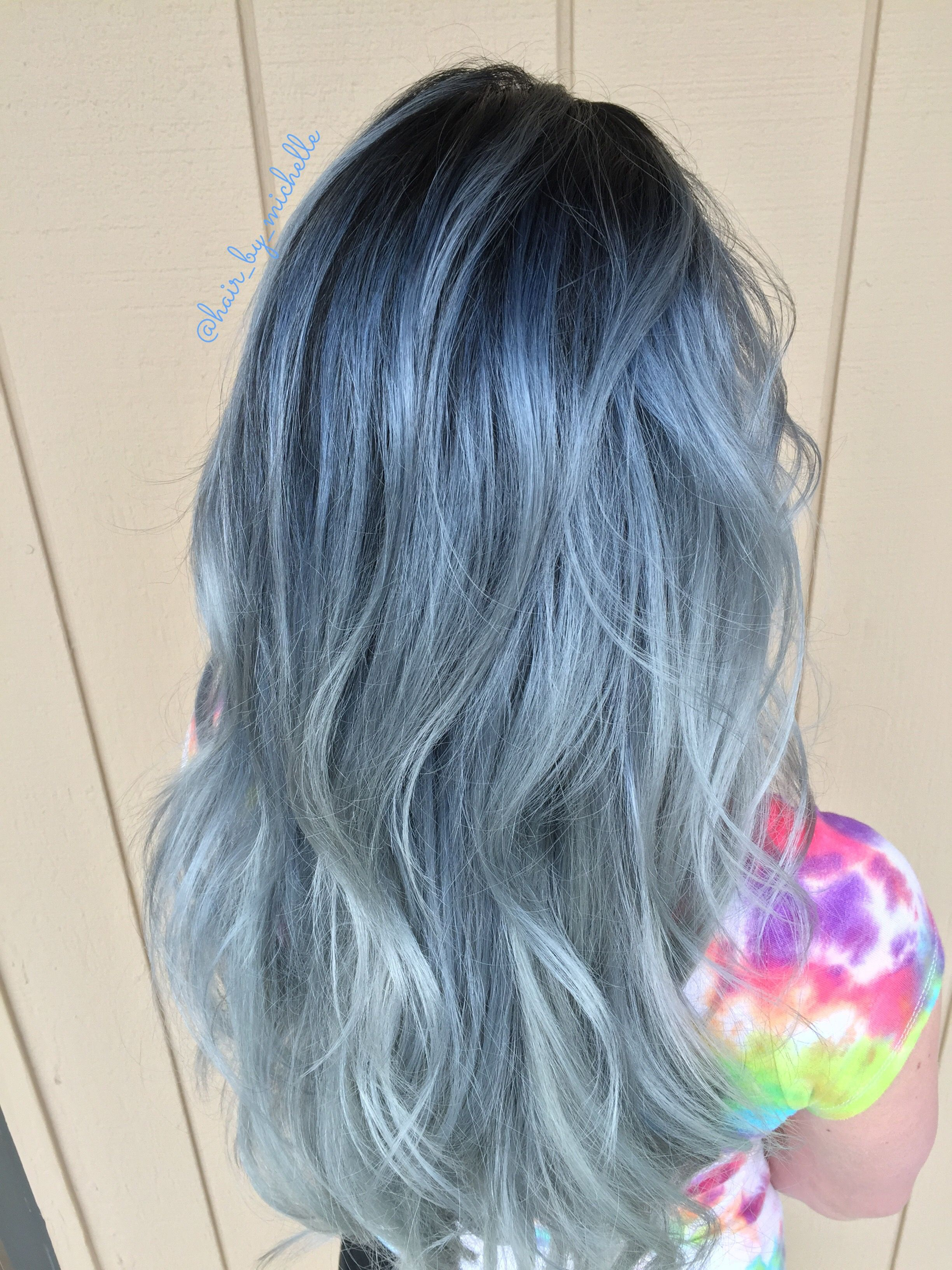 Denim Hair Color Blue Shadow Root Blue Balayage Blue Ombre Hair
