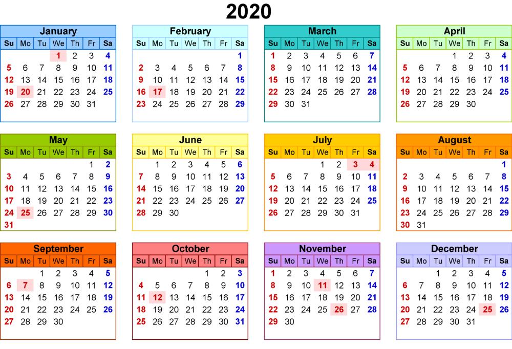 Free Printable 2021 Calendar With Federal Holidays Printable Calendar & Template #calendar2020 #yearly2020calendar