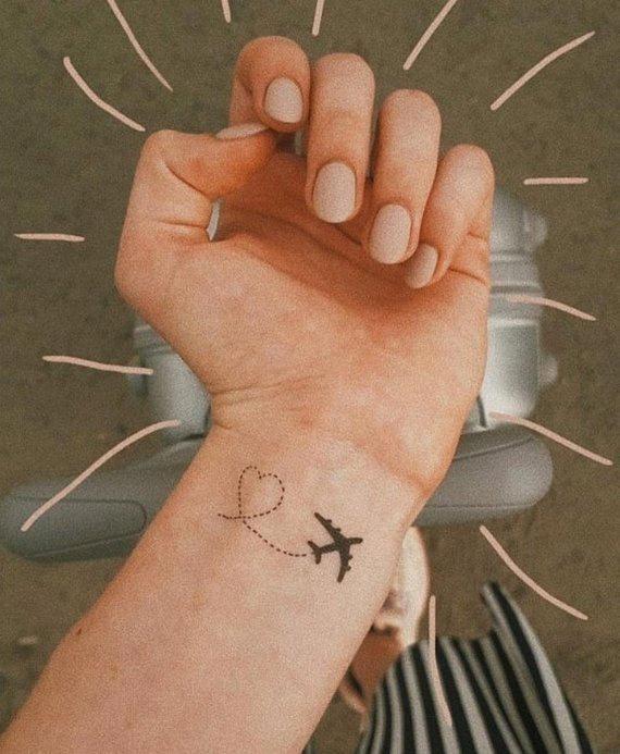 Henna Tattoo Für Jungs: Airplane Tattoo / Black Heart Tattoo / Planes Temporary
