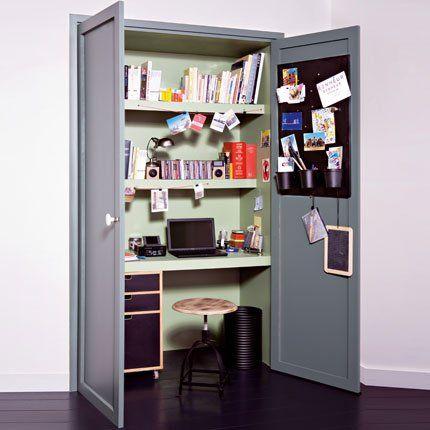 Un bureau cach dans un placard Marie Claire Maison Cacher