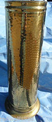 Antique English Hammered Brass Flower Plant Walking Cane