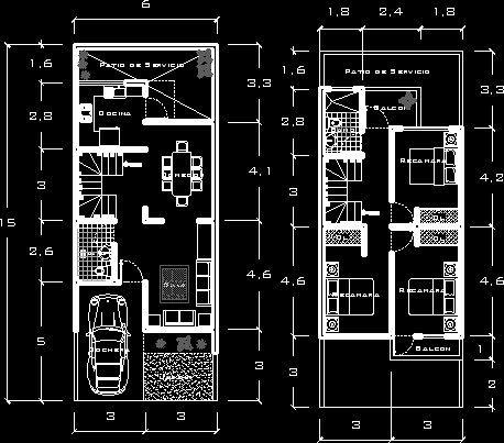 Casa habitacion 6x 15 en vivienda unifamiliar proyectos for Planos de casa habitacion