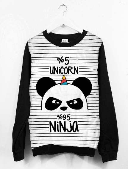 cd8115808 Blusa Moletom Canoa Feminino Tumblr Unicórnio Panda Ninja
