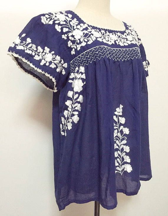 XL Embroidered Blouse Blue Mexican Cotton Top, Plus Size Blouse, XL Top