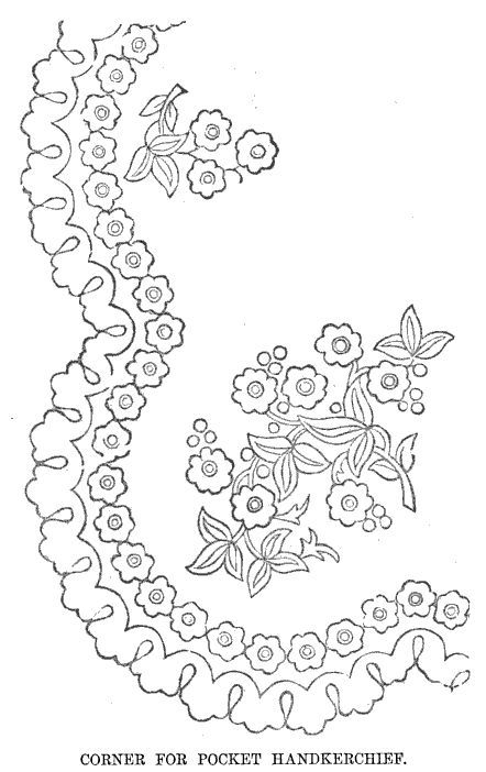 Vintage floral embroidery design for a lady's handkerchief or any other embroidery project requiring floral sprays or a square frame.
