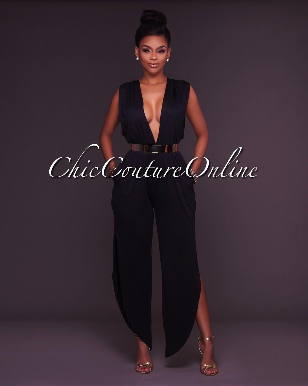 37d5f99e987f Chic Couture Online - Salena Black Deep V Jumpsuit