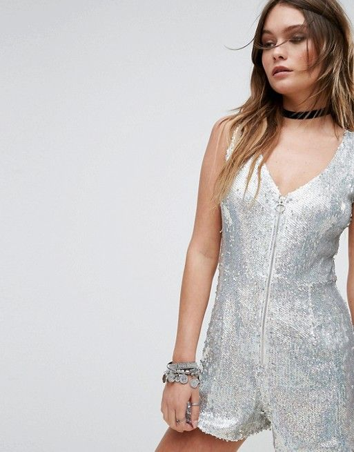 Silver sequin playsuit!