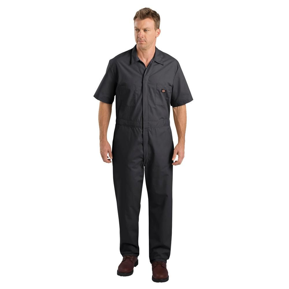 dickies men s short sleeve coverall 33999bk 2x rg on dickies coveralls id=78229
