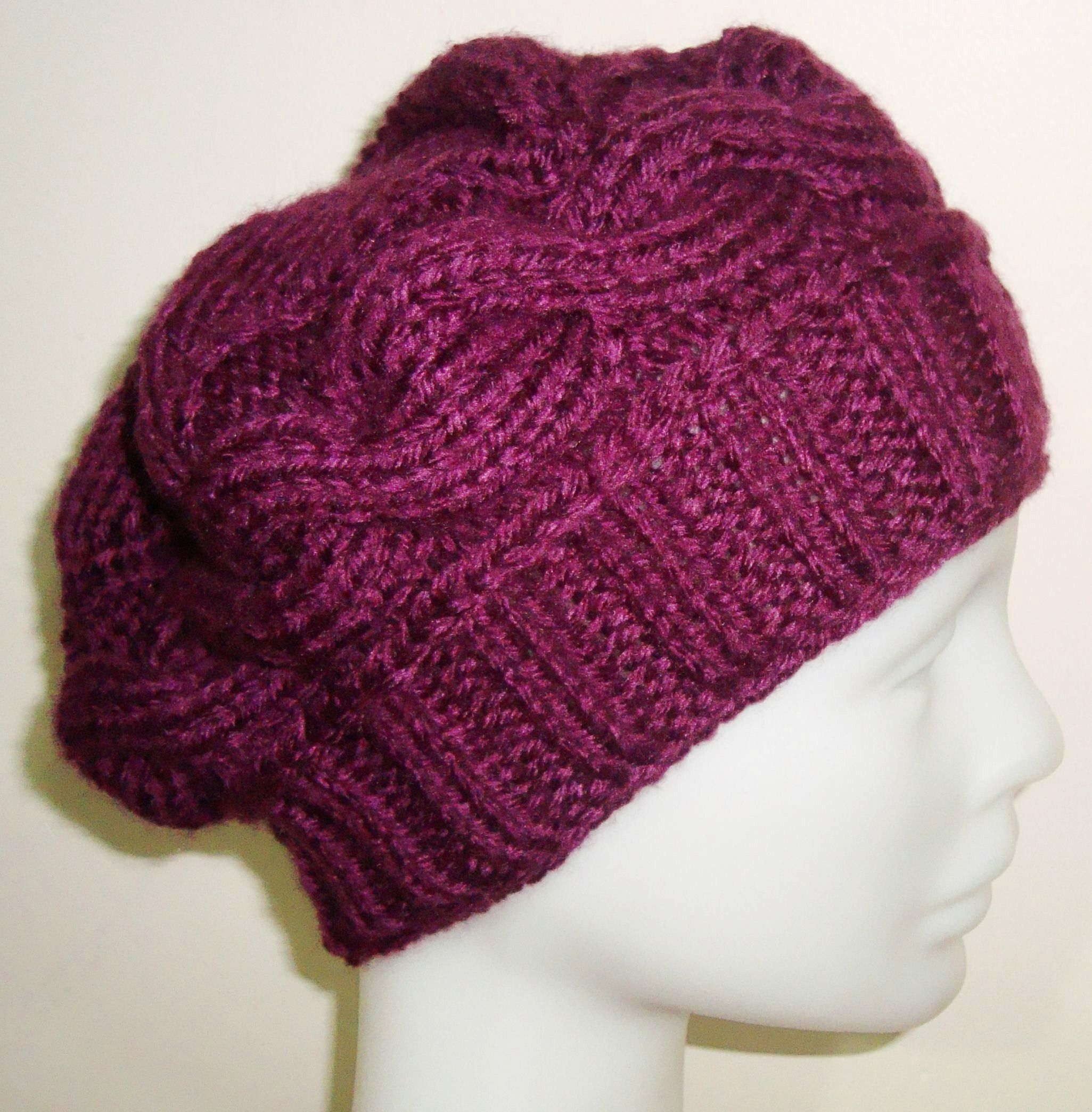 Hand Knit Women Beanie in Violet Purple. Hand Knit Women Beanie in Violet  Purple Cable Knit Hat ... 30f5eed2339a