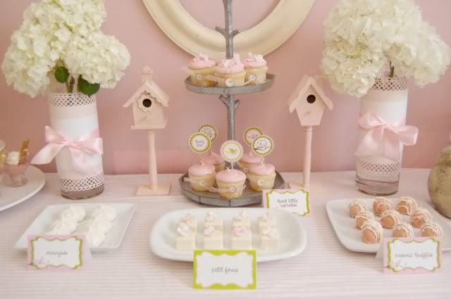 party little pink birdies baby shower desserts baby shower decorations