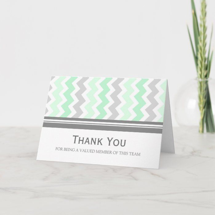 Mint Grey Chevron Employee Appreciation Card