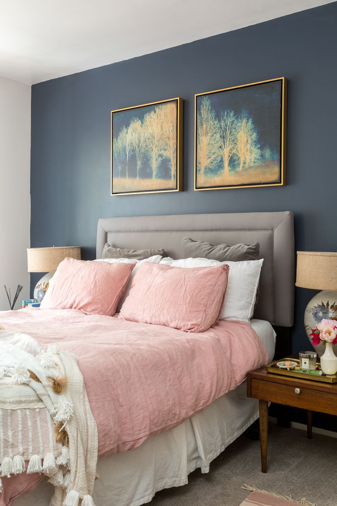 The perfect boho chic navy and pink master bedroom ideas