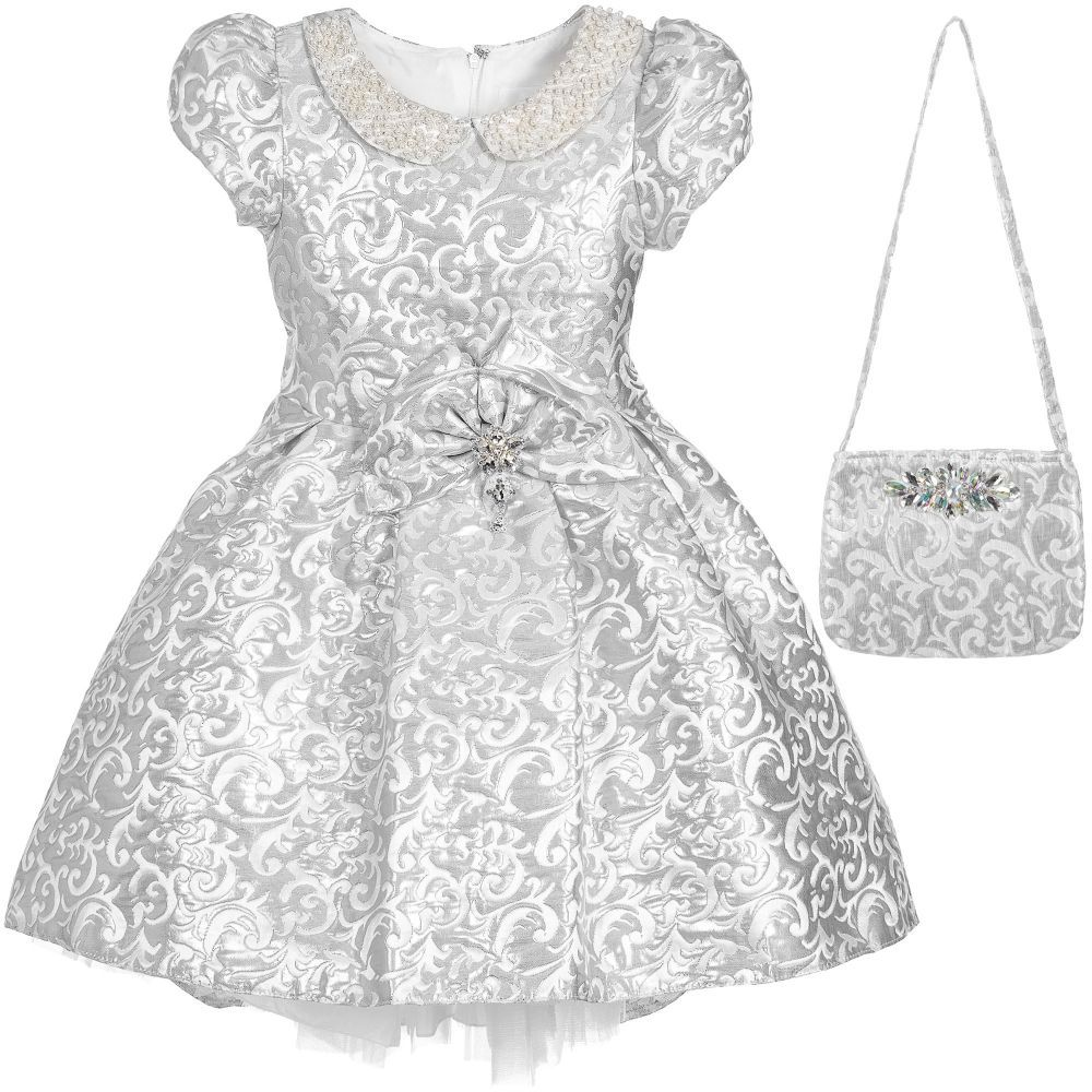 Girls Silver Jacquard Dress with Bag