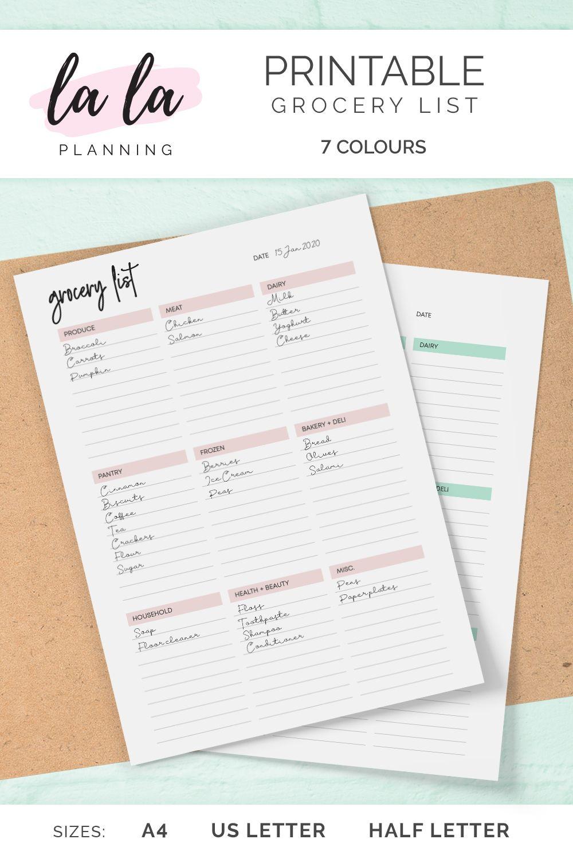 Grocery List, Printable Planner, PDF Printable A4, US