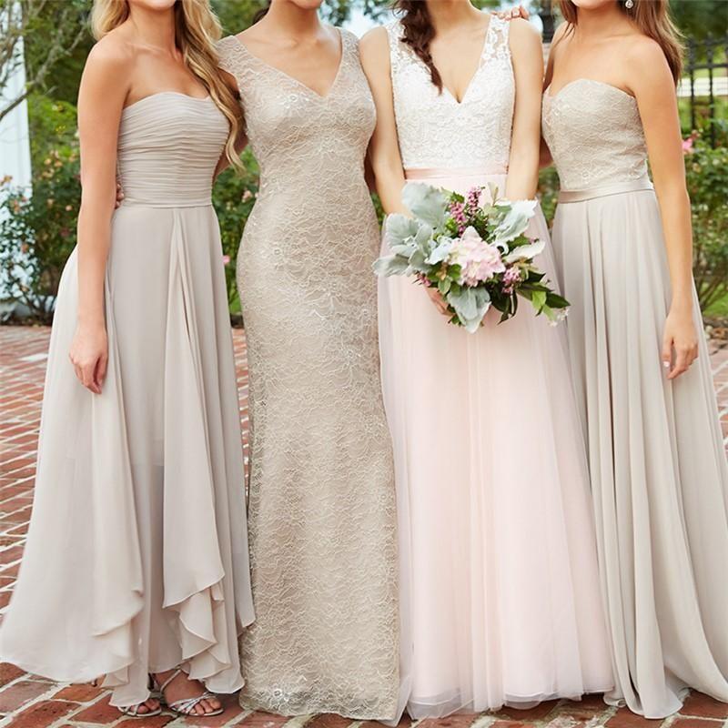Mismatched Lace Chiffon A Line Custom Bridesmaid Dresses Cheap Unique Tulle Long Bridesmaid Gown Bd123 Custom Bridesmaid Dress Beautiful Bridesmaid Dresses Bridesmaid Dresses