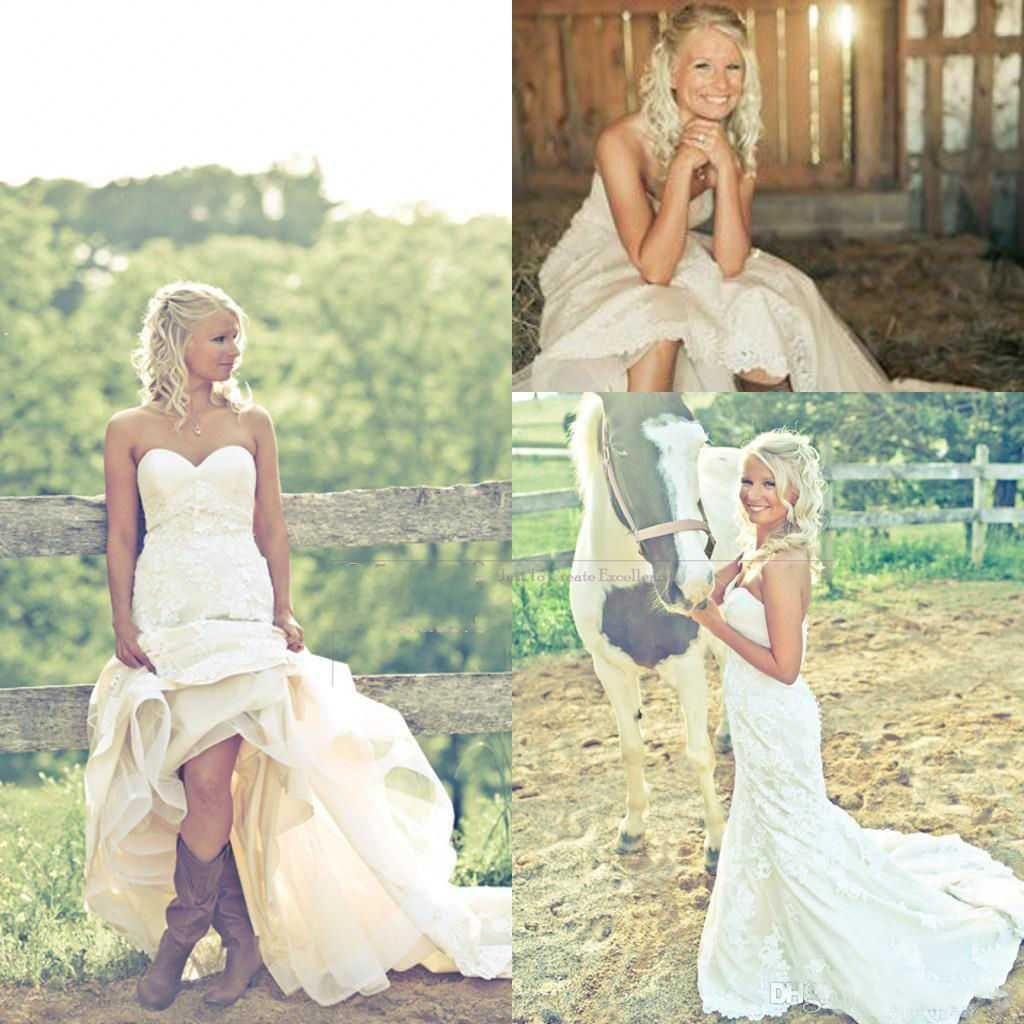 chic rustic hi lo wedding dresses sweetheart neck court train