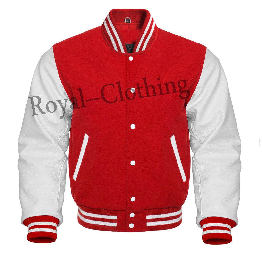 Varsity Letterman Baseball Bomber Jacket Red Wool And Genuine Leather Sleeves Leather Sleeve Jacket Letterman Jacket Jackets [ 1066 x 1079 Pixel ]