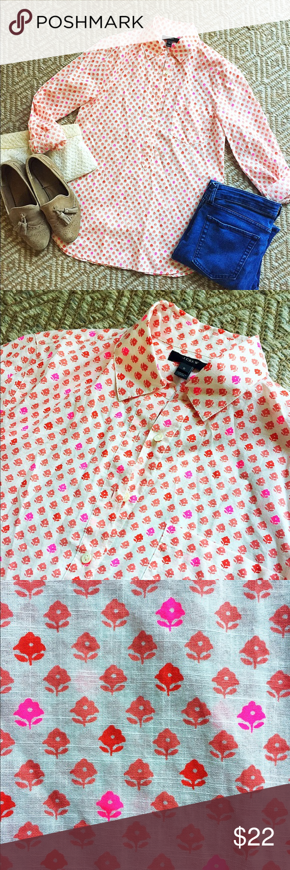 J. Crew Printed Blouse Fun collared top with cute multi-colored Floral pattern. Featuring 3/4 open neckline & pocket detailing. J. Crew Tops Blouses