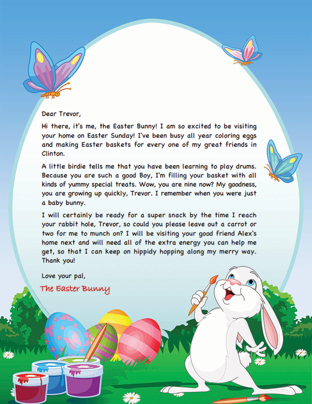 graphic regarding Letter From Easter Bunny Printable referred to as Easter Bunny Letter Template Easter Designs inside of 2019 Easter