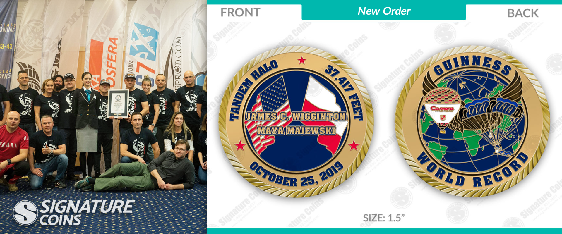 World Record Custom Challenge Coin Created In Honor Of Highest Tandem Skydive Ever Https Custom Challenge Coins Promotional Products Marketing World Records