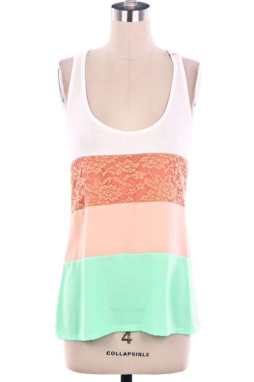 Colorblocked Floral Lace Tank Top - $20.00   A tank top featuring colorblocked and partial floral lace. Sleeveless.   94% Rayon, 4% Span   MADE IN USA