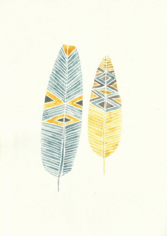 Teal Blue, Mocha and Mustard Boho Feather Watercolour