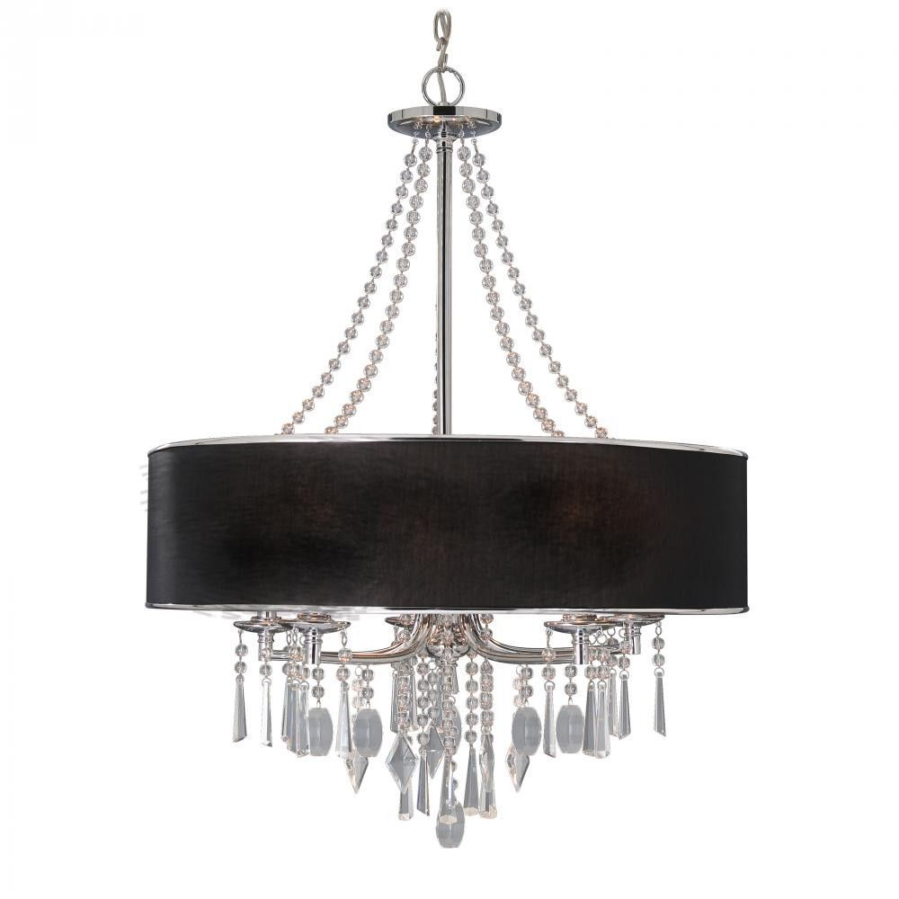 5 Light Black Drum Shade Chandelier Chandelier Lighting