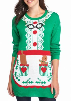 827cef99073 New Directions® Mrs. Claus Apron Holiday Tunic Sweater
