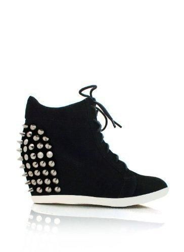 Studded Lace Up Wedge Sneakers #shoes $34