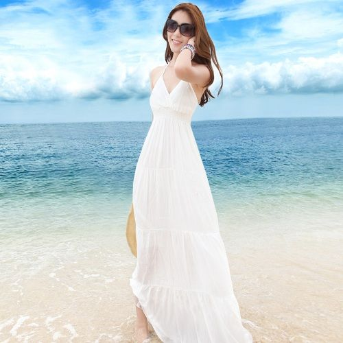 White Beach Wedding Dresses Casual And Their Accessories