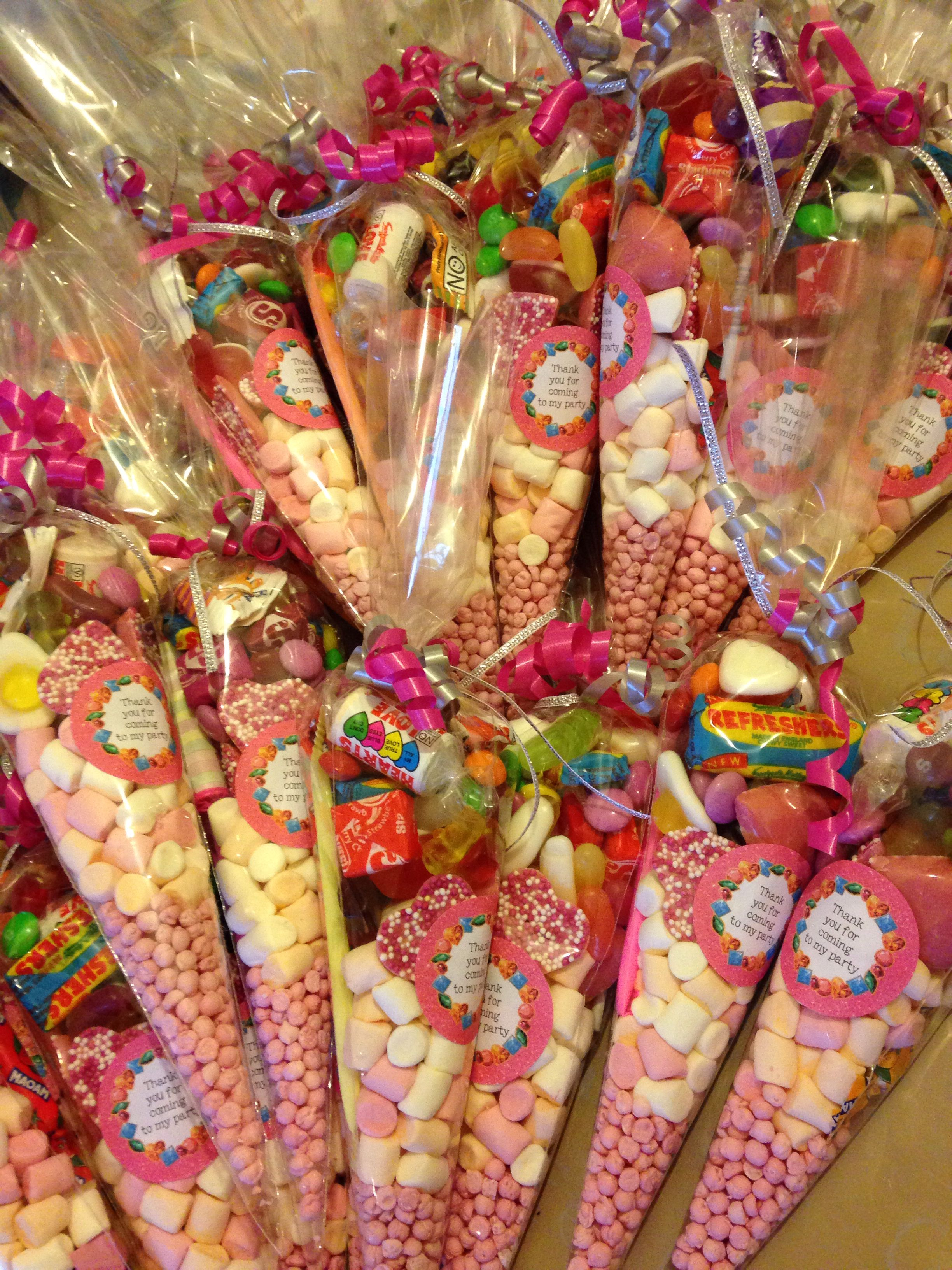 Sweet Party Cone Cello Bags Pink THANK YOU FOR COMING TO MY PARTY