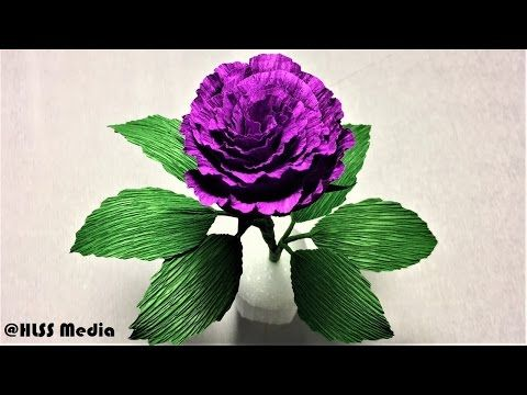 Youtube flores pinterest easy origami crepe paper and origami how to make easy origami purple rose paper flower step by step diy crepe paper flower making easy mightylinksfo