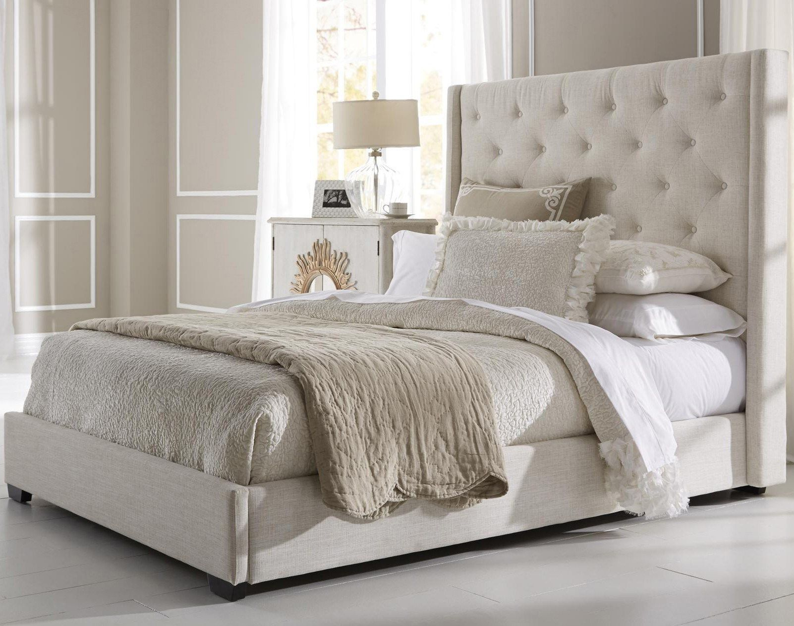 Fabric Headboard Bedroom Sets. ivory leather cover platform with