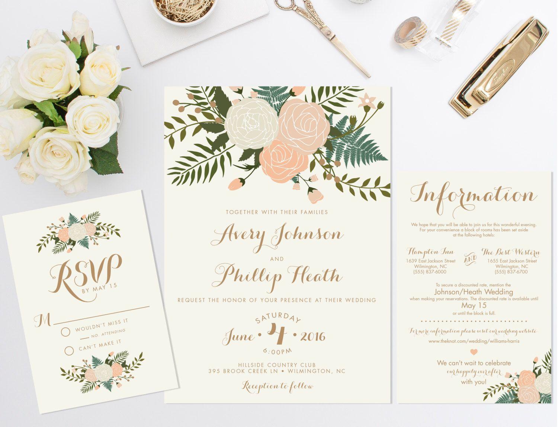 Wedding Invitation Bundle, Floral Invite, Vintage wedding invitation ...