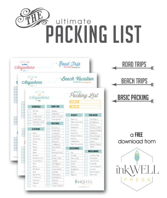 FREE DOWNLOAD Travel Packing Checklist Pack list, Road trips and