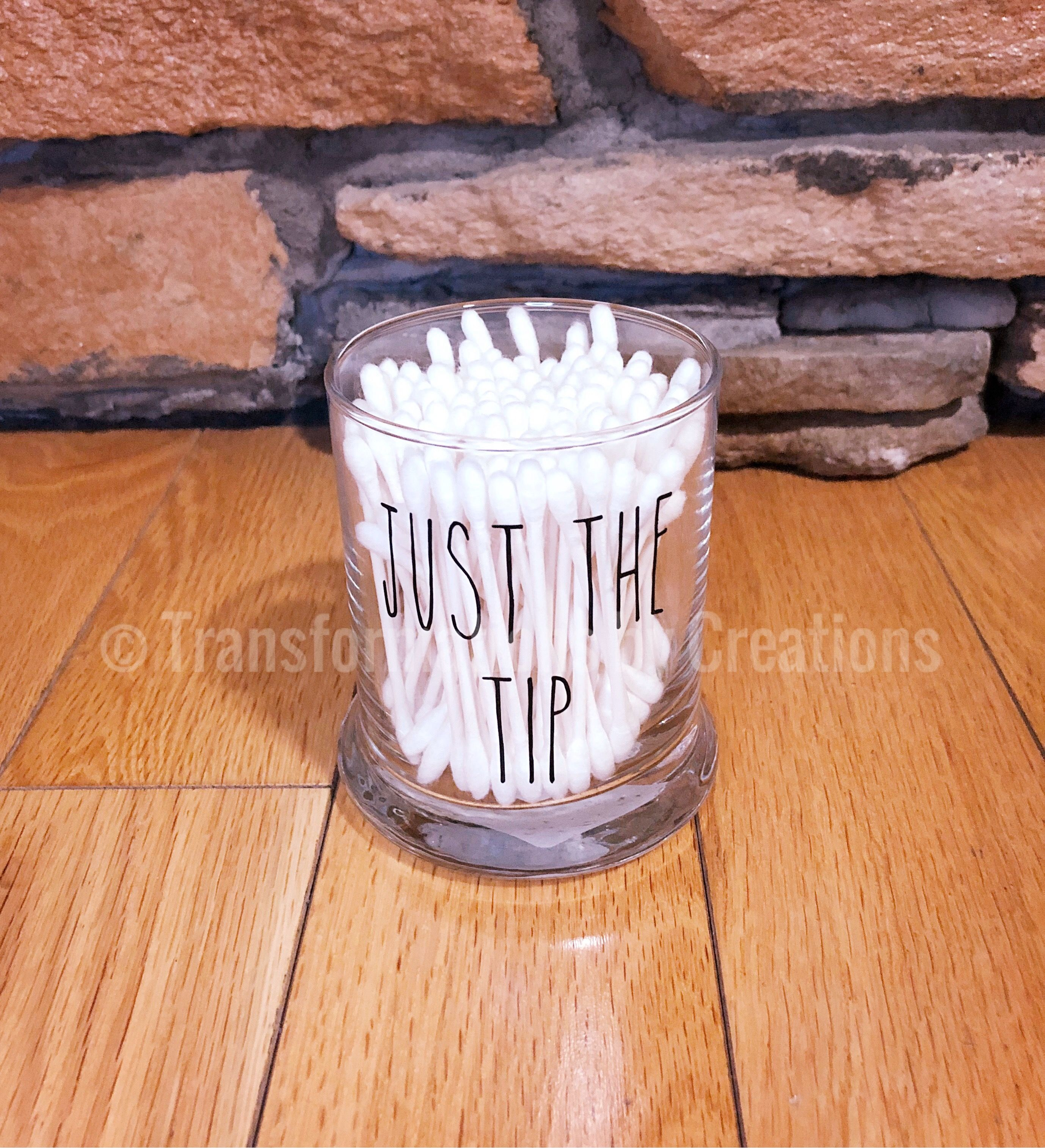 Just The Tip Q Tip Holder Bathroom Decor Funny Bathroom Storage Jars Q Tip Holder Jar Storage Cotton Ball Holder Bathroom q tip holder